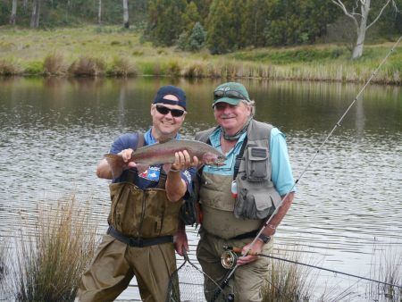 Fly fishing for Trout in Tasmania.